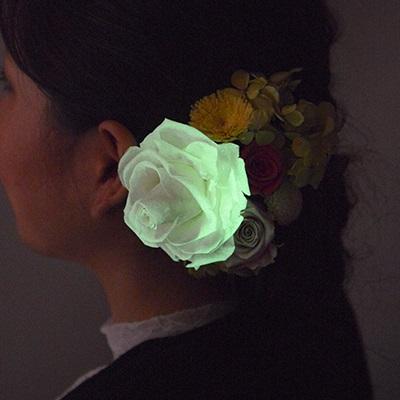 光るヘッドアクセサリー 「ムーンライトローズ」作品例1